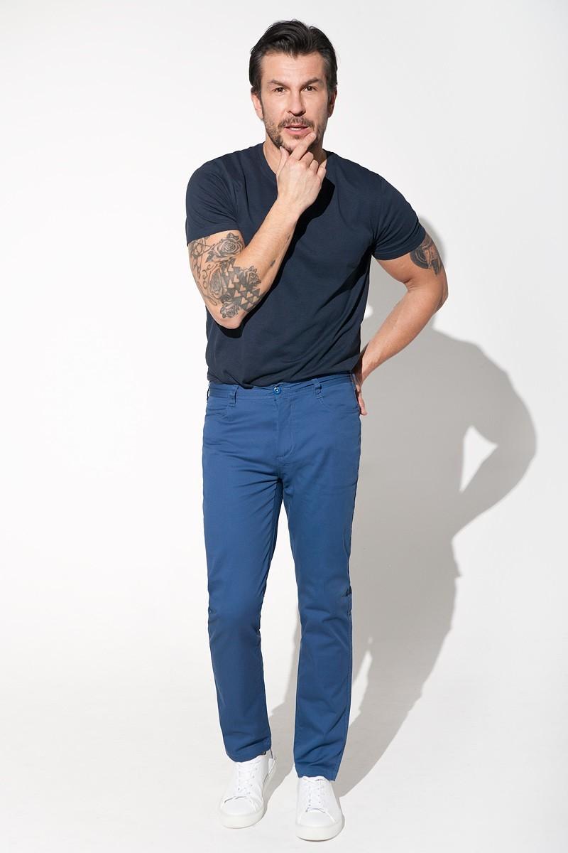 niebieskie spodnie męskie five pockets