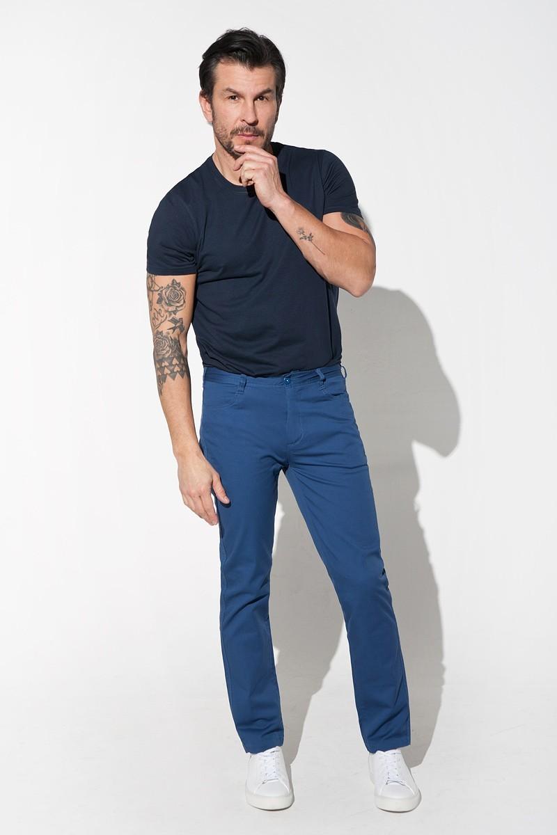 Blue men's trousers slim.