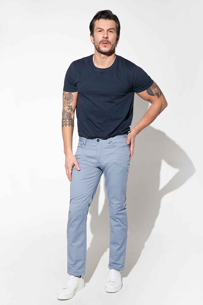 jasno niebieskie spodnie męskie z bawełny