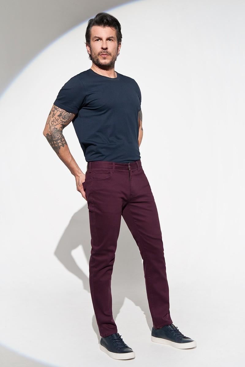 bordowe spodnie męskie casual