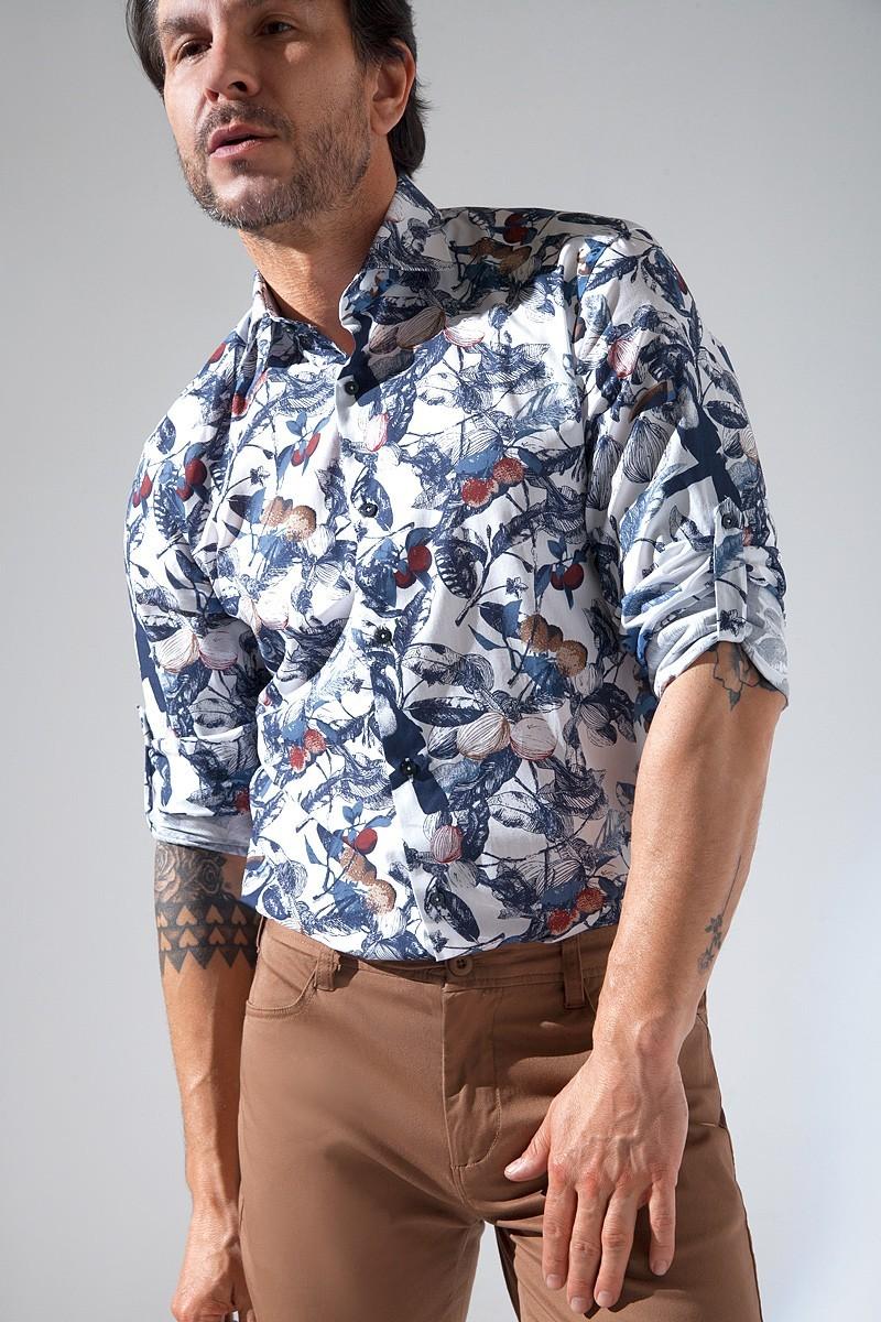 Modna koszula męska w duże wzory roślinne
