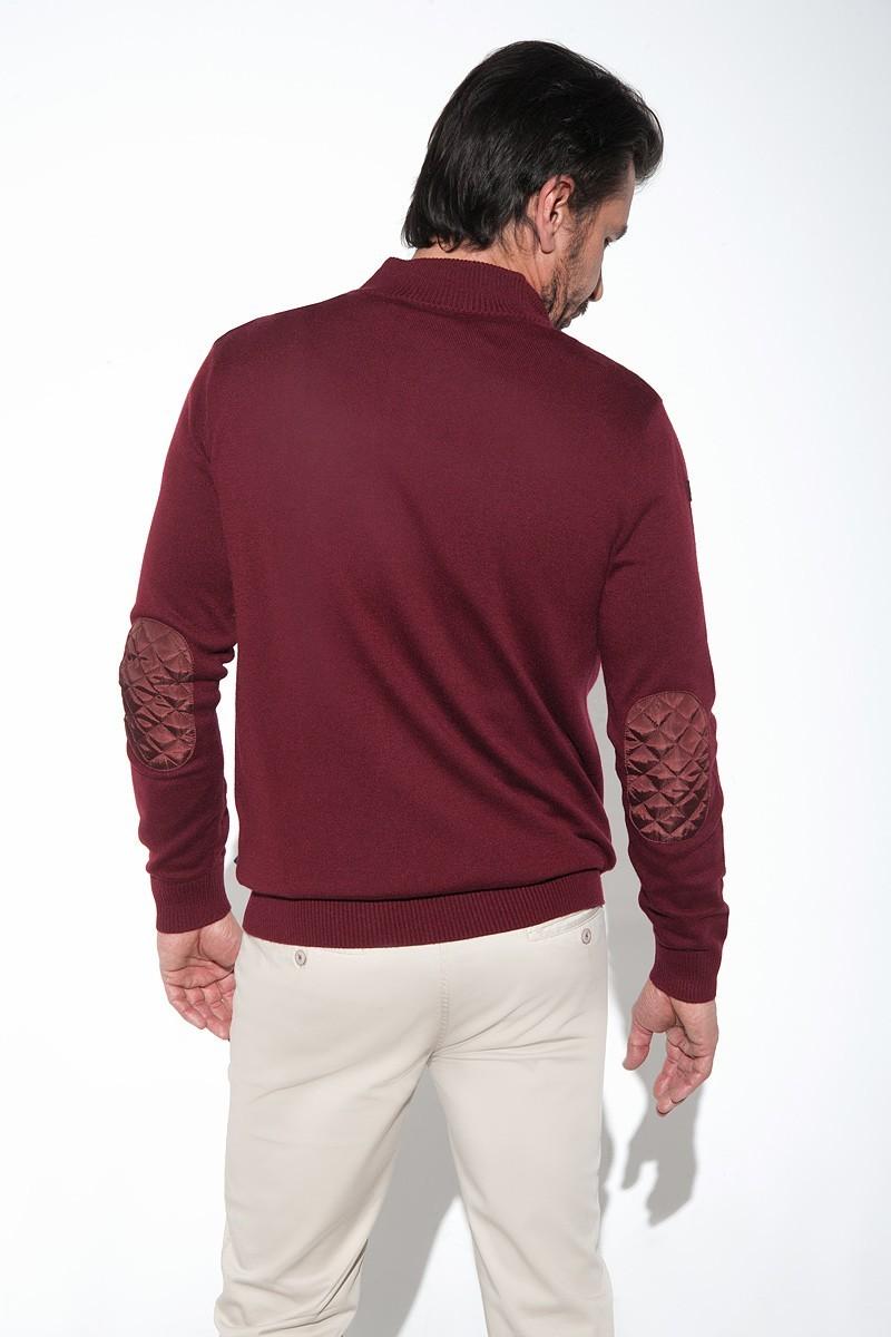 bordowy sweter męski rozpinany z pikowaniem