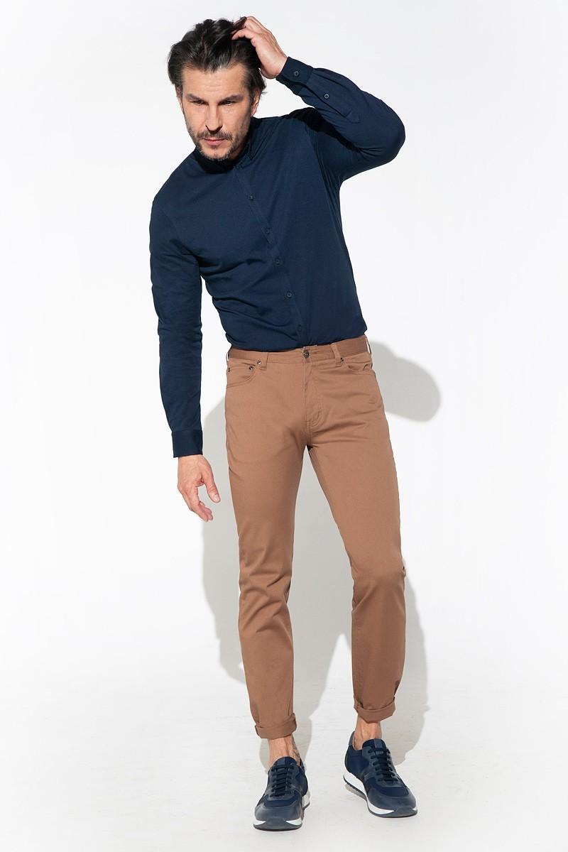 kamelowe spodnie męskie bawełniane