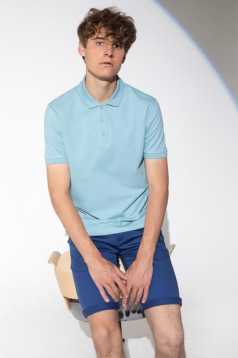 Koszulka męska polo w kolorze miętowym