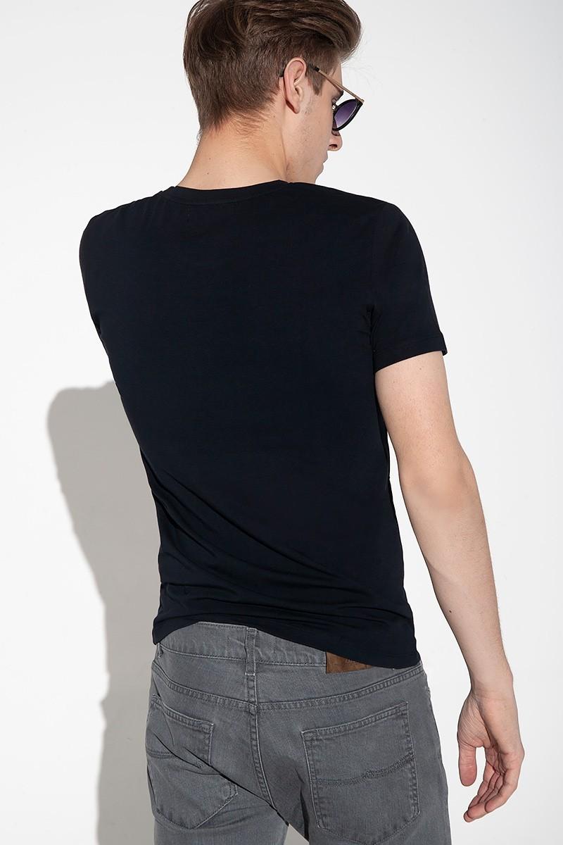 Granatowy t-shirt męski bawełniany