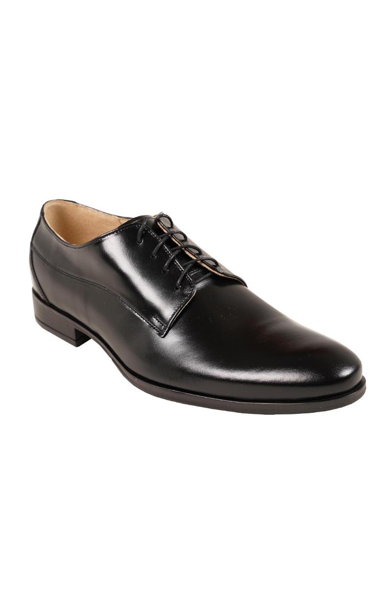 Czarne klasyczne buty męskie ze skóry naturalnej do garnituru.
