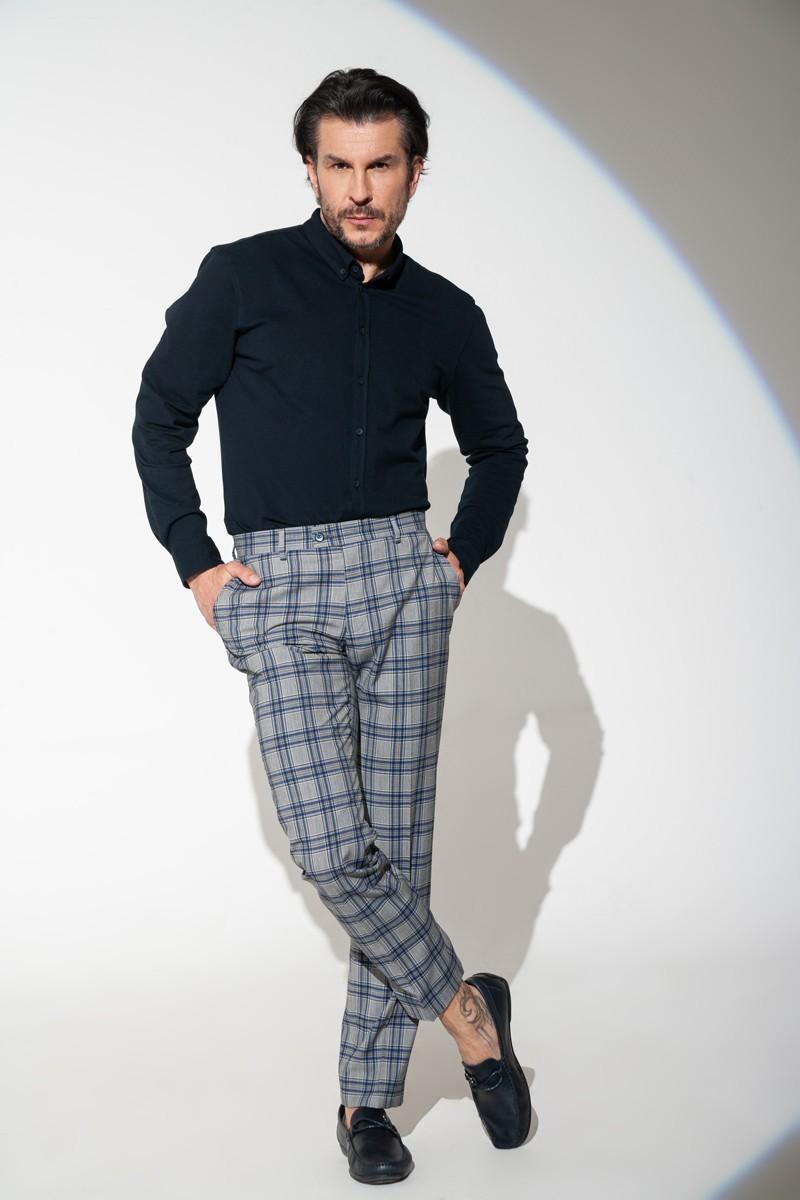 Spodnie męskie klasyczne w kratę
