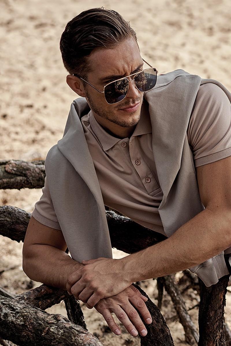 beżowa koszulka męska polo z bawełny