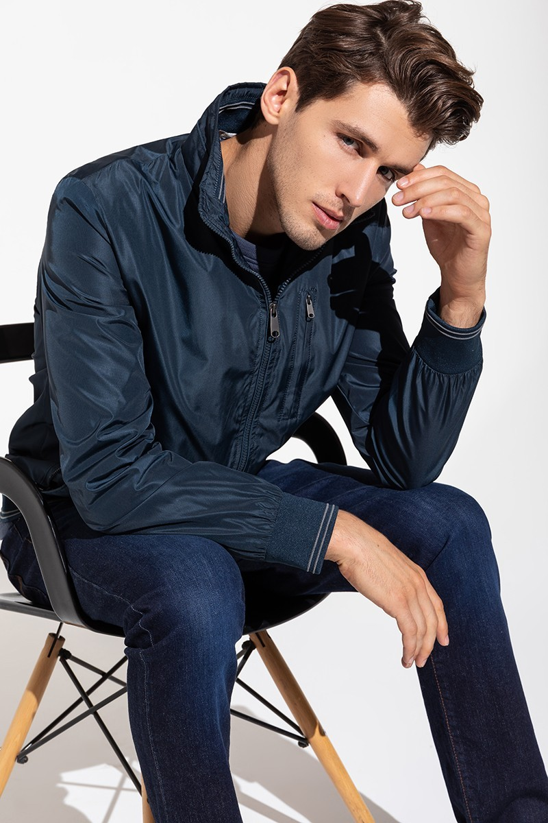 Navy blue men's bomber jacket