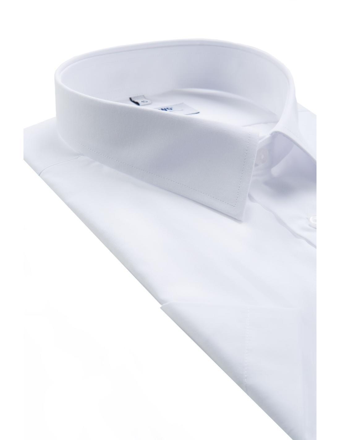 Biała koszula męska z krótkim rękawem uniwersalna 3002 Pawo
