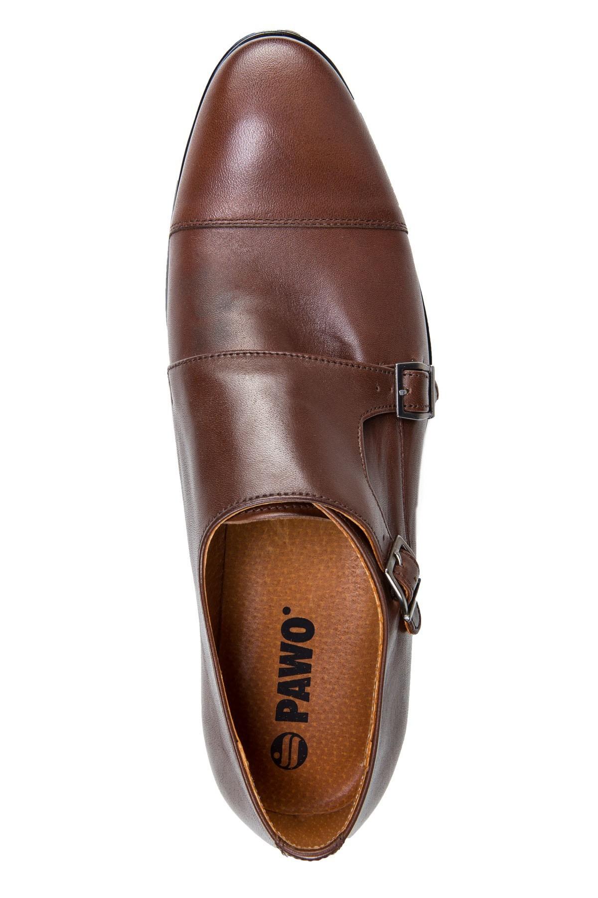 Brązowe buty męskie ze skóry typu monki