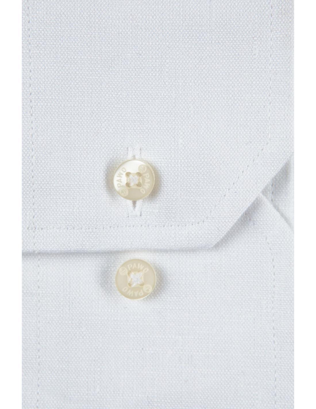 Lniana biała koszula męska na lato 3597 Pawo  UG8ZE
