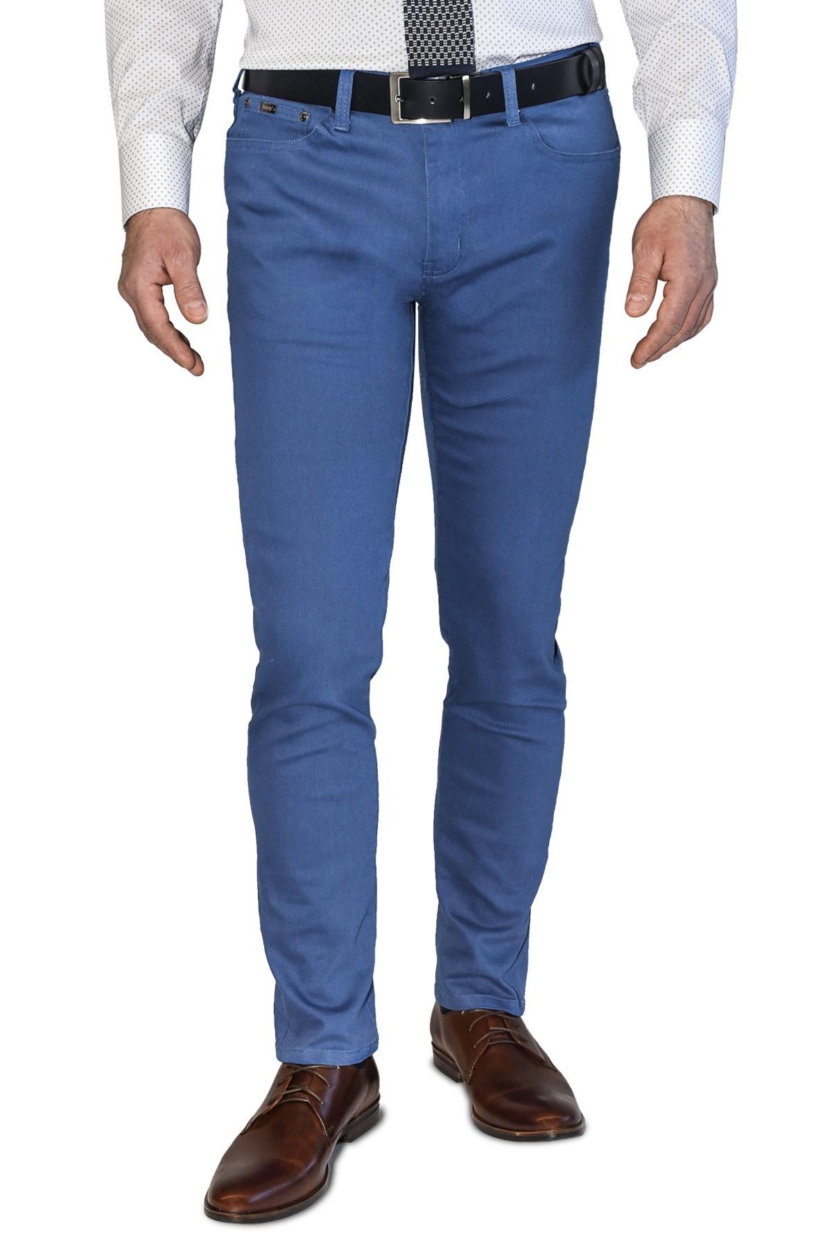 niebieskie spodnie męskie bawełniane