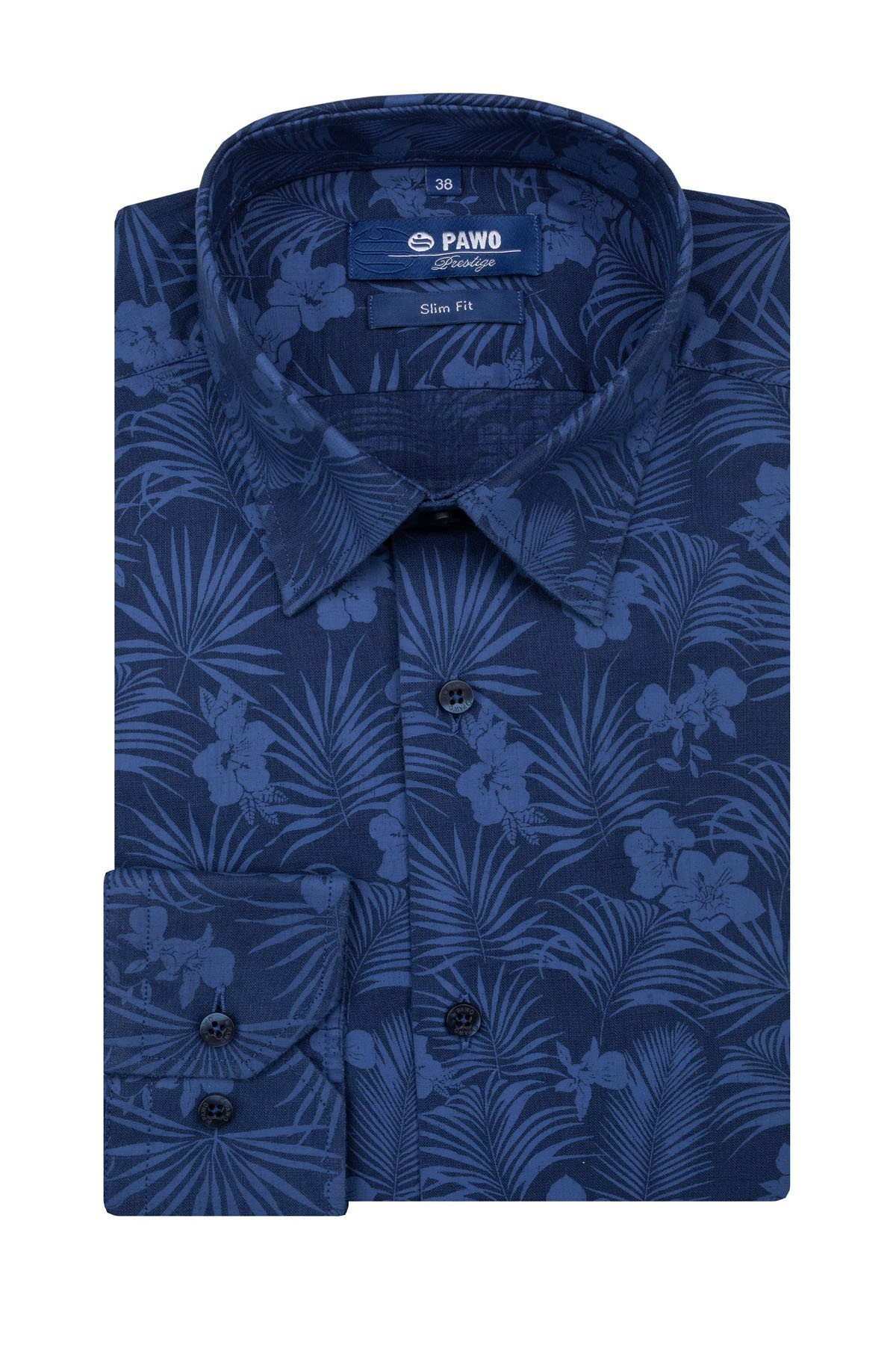 Navy men's shirt with floral pattern