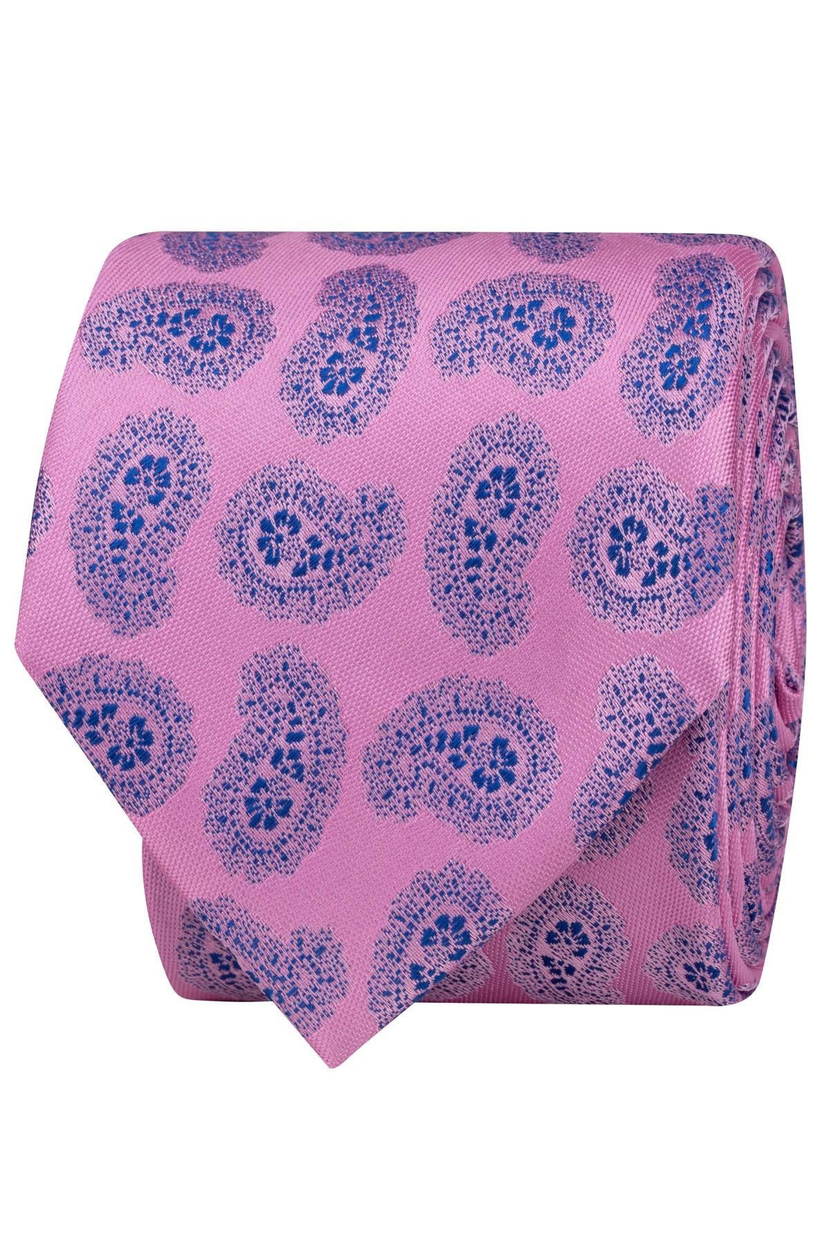 krawat różowo-granatowy