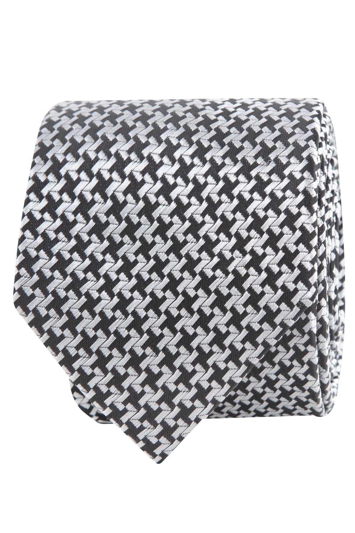 krawat męski biało-czarny wzór