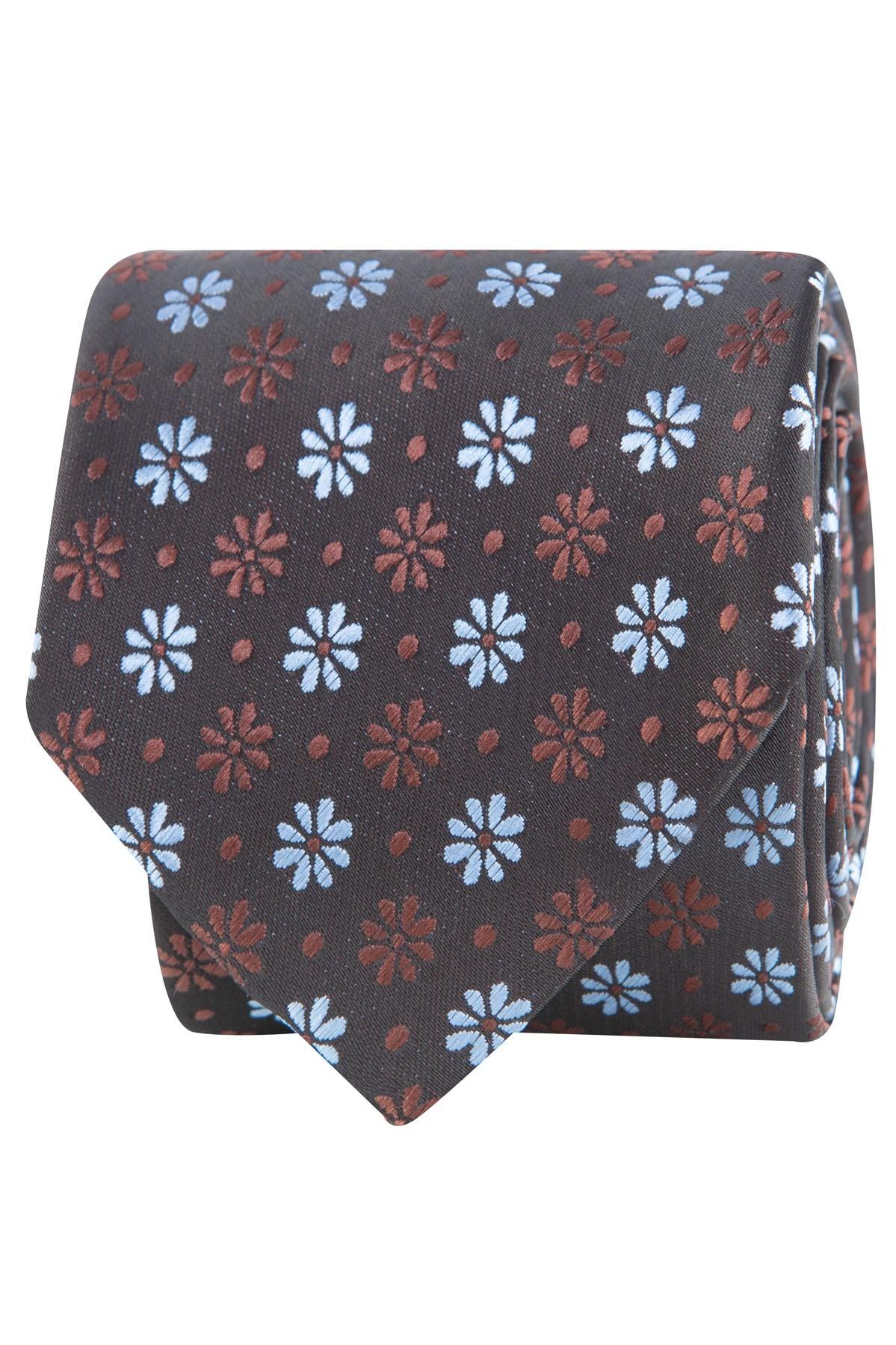 krawat męski brązowy we wzory