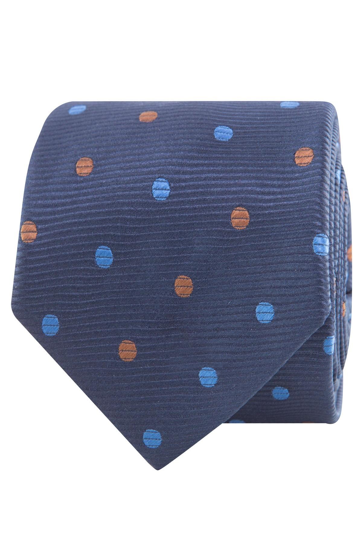 krawat męski granatowy we wzory