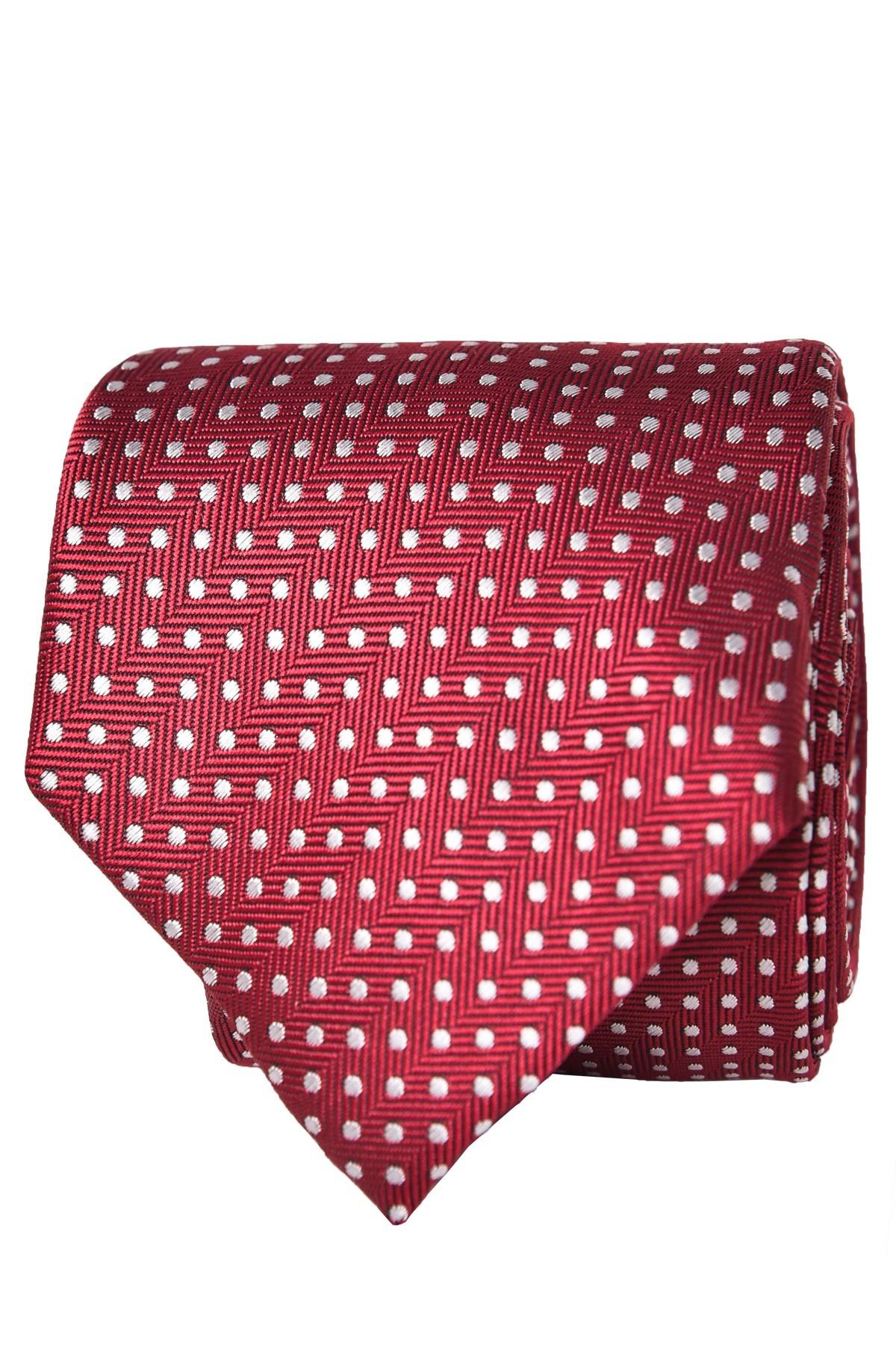 krawat męski czerwony we wzory