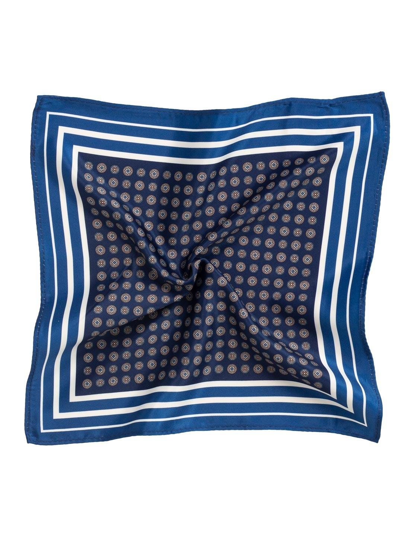 granatowo- niebieska poszetka do garnituru we wzory