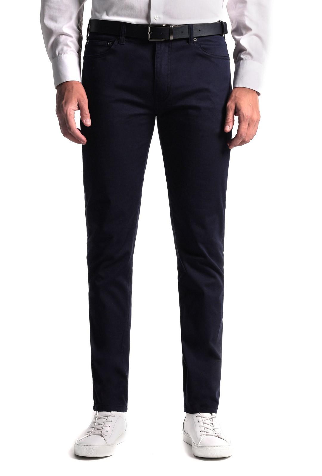 Granatowe spodnie męskie bawełniane