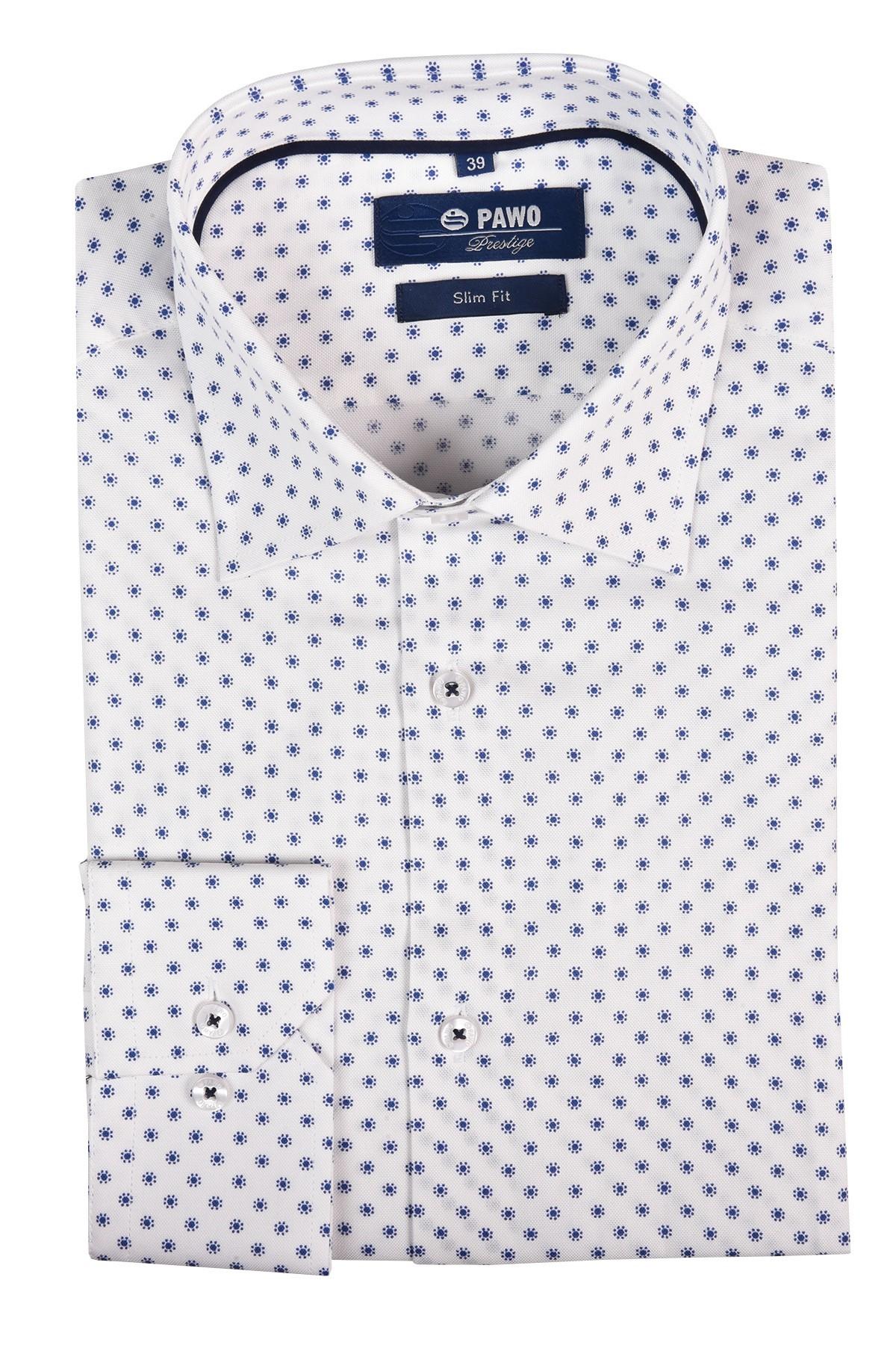 biała koszula męska w drobny niebieski nadruk casual slim
