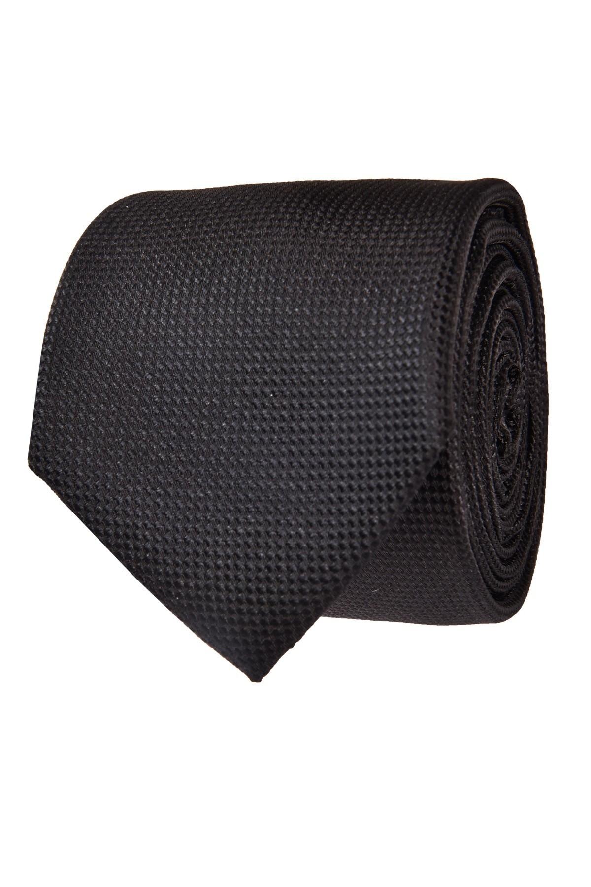 Strukturalny czarny krawat męski