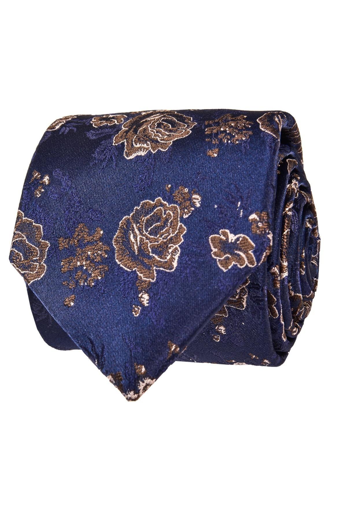 Granatowo brązowy krawat męski we wzory