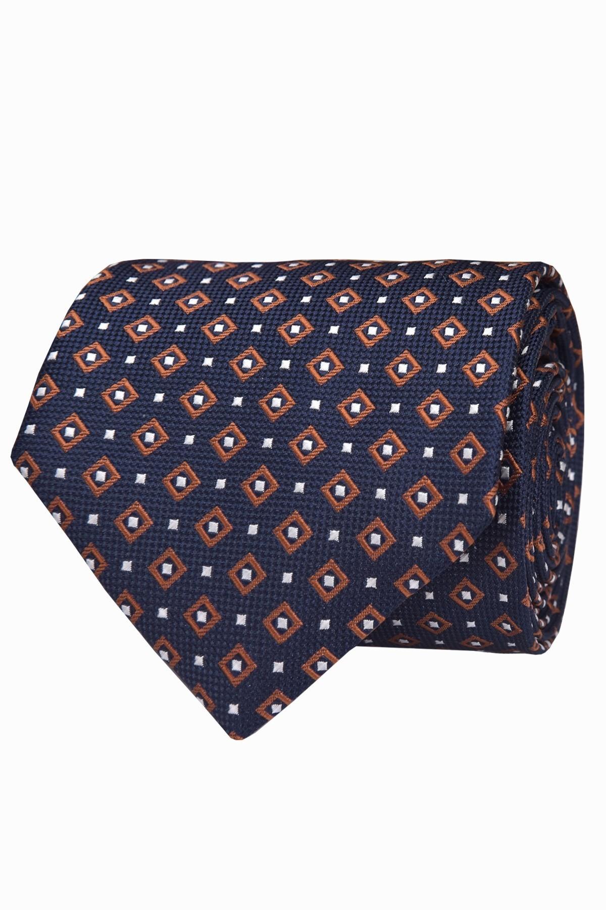 krawat granatowo brązowy
