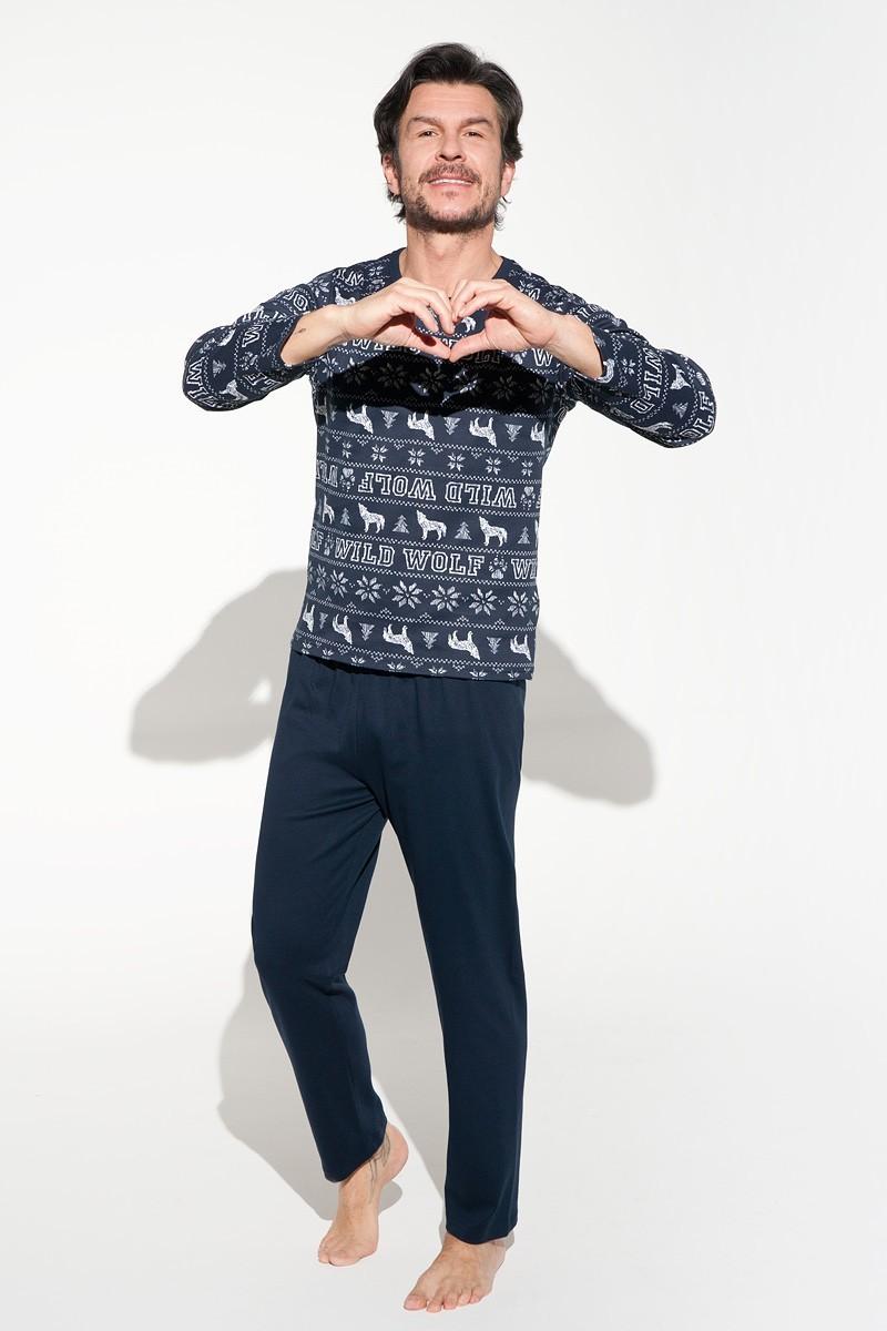granatowa piżama męska na prezent dla męża