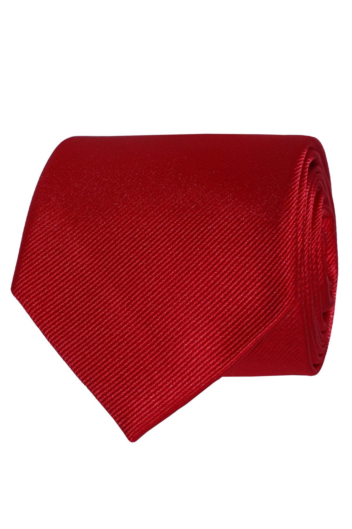 czerwony krawat męski gładki w prążek