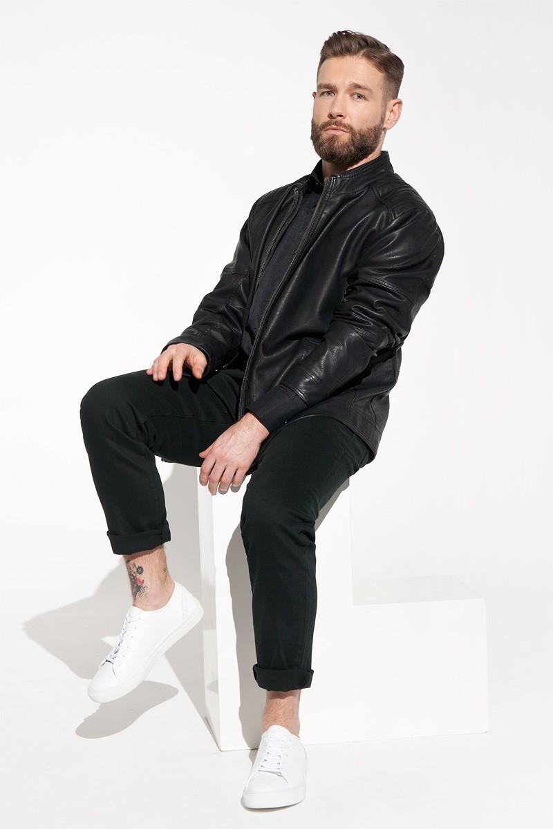 Czarna kurtka męska z eko skóry ramoneska męska